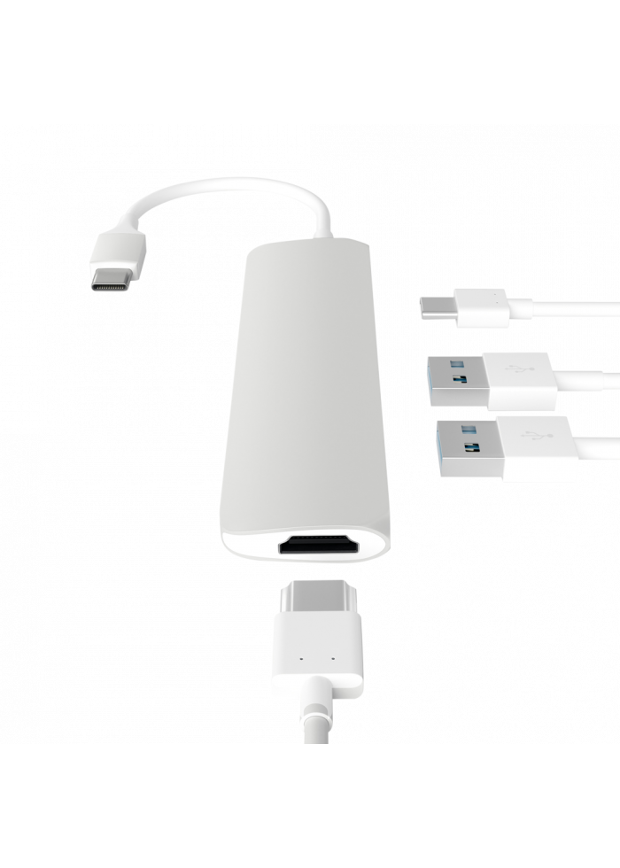 Aksesuārs Adapteris Satechi USB-C MultiPort Adapter HDMI, 2x USB 3.0 Silver